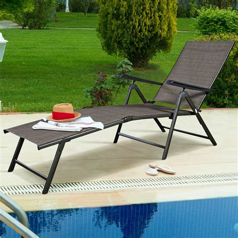 Chaise Lounge Pool Chairs by Adjustable Pool Chaise Lounge Chair Recliner Textilene