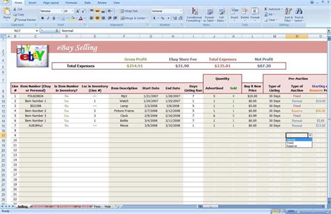 ebay spreadsheet template spreadsheet templates