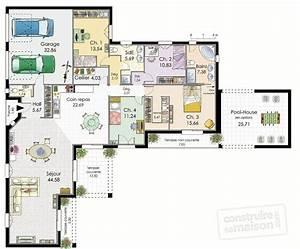 villa de plain pied detail du plan de villa de plain With plan de maison moderne 0 maison de plain pied en corse detail du plan de maison