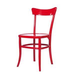 chaise en bois massif rouge bistrot maisons du monde