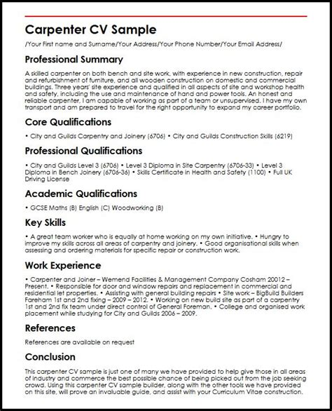 Construction Carpenter Resume Format by Carpenter Cv Sle Myperfectcv