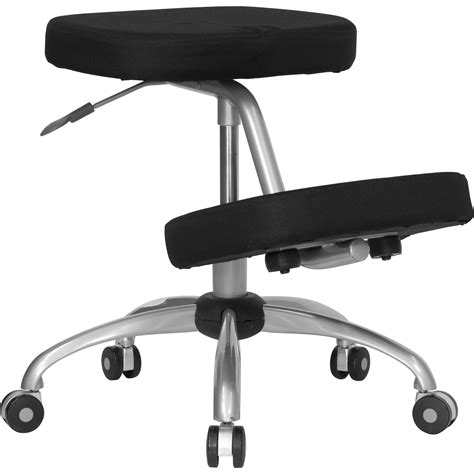 flash mobile ergonomic kneeling chair in black fabric with