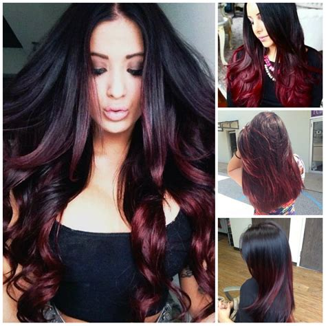 black hair with color top 20 transformations with maroon hair color hairstyles