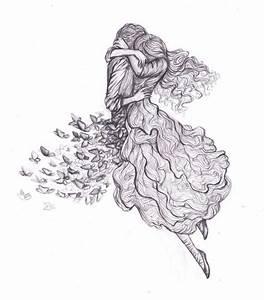 -, boy, butterflies, drawing, dress, girl, hugging, sketch ...