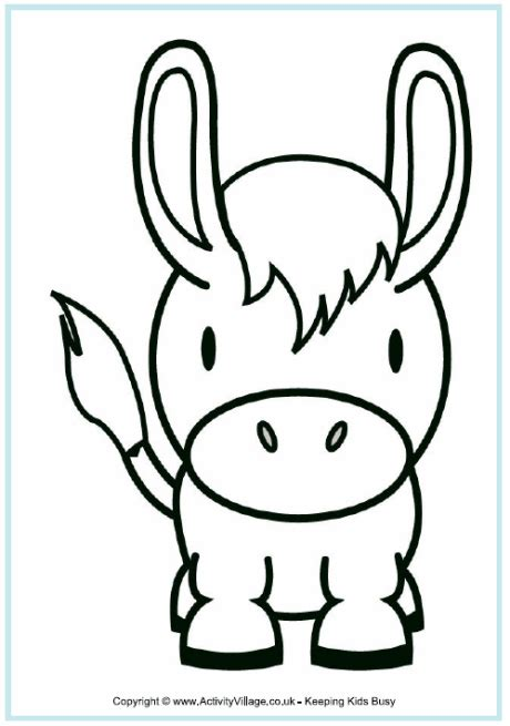 donkey colouring page