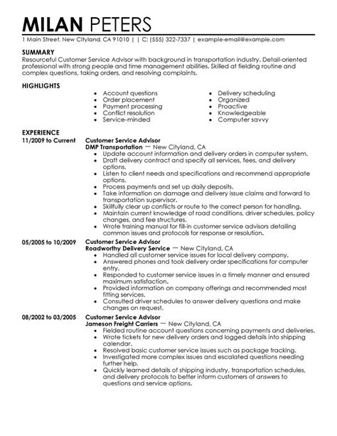 customer service advisor resume exles transportation