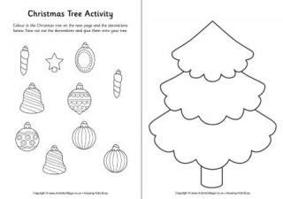 decorate your own christmas tree worksheet cut and stick activities