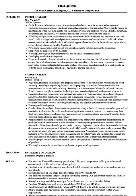 Senior Credit Analyst Resume by Credit Analyst Resume Sles Velvet