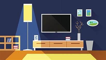 Tv Vector Living Clip Flat Illustration Interior