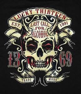 Lucky 13 Twin Forks Devil Skull Last Call T-Shirt Tee   eBay