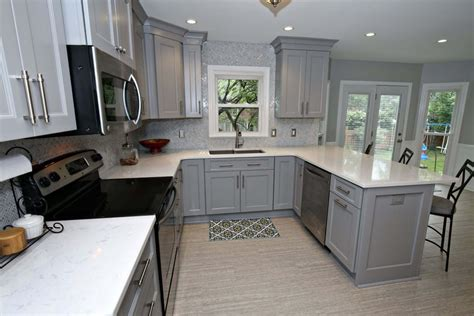 savvy gray cabinet kitchen remodel  island seating