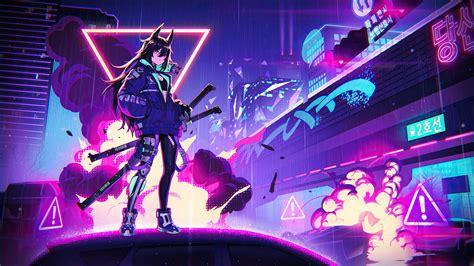 neon anime girl wallpaper backiee