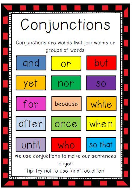 freebie conjunctions poster  page colour poster great