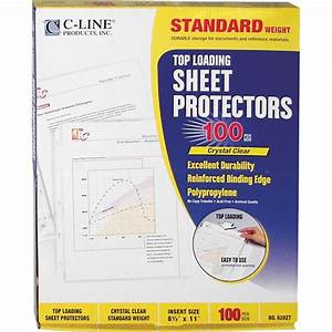 C line clear standard weight polypropylene letter size for Letter size sheet protectors