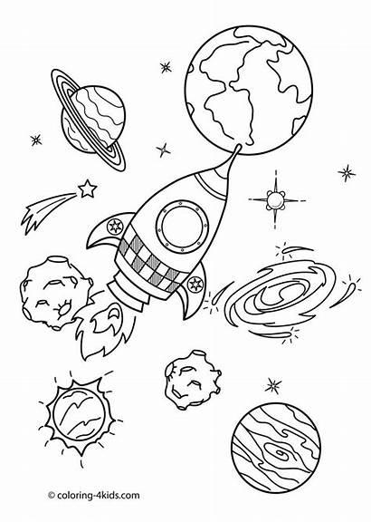 Space Coloring Printable Printables Planet Rocket Sheet