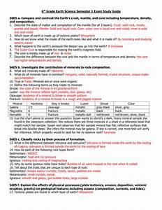 6th Grade Earth Science Semester 1 Exam Study Guide S6e5 A