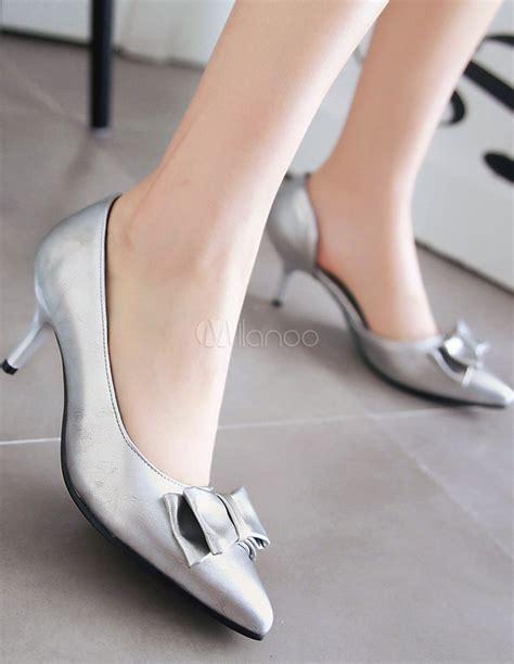 pointy toe mules 39 s silver flats kitten heel pointed toe slip on pumps