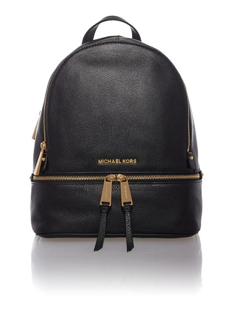 michael kors rhea zip black small backpack  black lyst