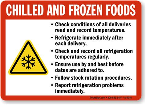 Water On Floor Under Refrigerator by Chilled And Frozen Foods Guidelines Sign Kitchen Safety