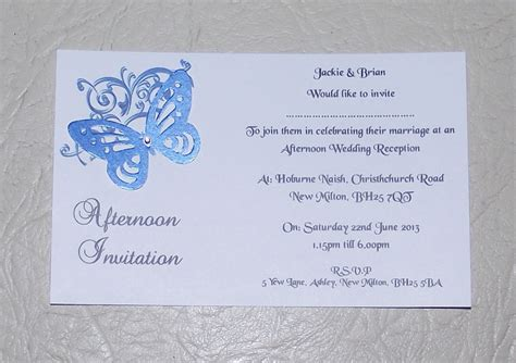 postcard invitation wedding invitations day or evening personalised corner butterfly design postcard style x 10