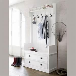 Meuble D Entrée Blanc : meuble d 39 entr e avec 5 pat res blanc l 110 cm newport ~ Teatrodelosmanantiales.com Idées de Décoration