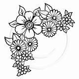 Corner Flowers sketch template