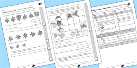 year 2 maths assessment geometry position and direction maths math assessment year 2 maths