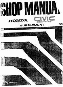 Honda Crx Vtec Supplement 1990 Workshop Manual