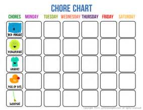 Blank Printable Chore Charts for Kids