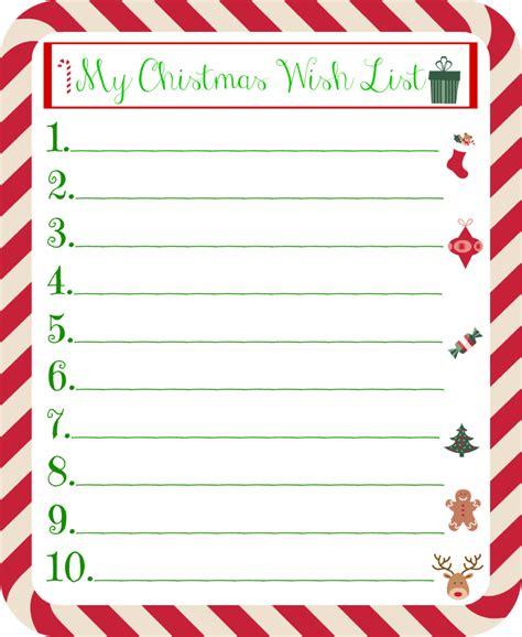 christmas gift wish list for kids printable