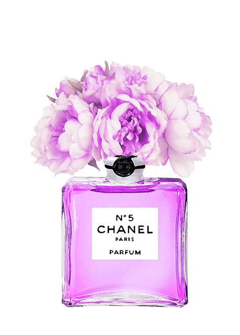 Purple Flower Iphone Wallpaper Chanel Print Chanel Poster Chanel Peony Flower Painting By Del Art
