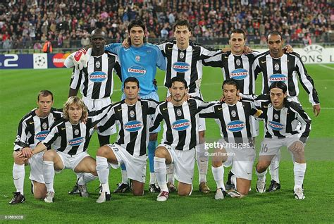 The Juventus squad line-up before The UEFA Champions ...