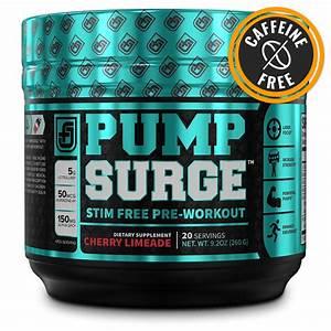 Pumpsurge Caffeine Free Pump Nootropic Pre Workout Supplement Non Stimulant Preworkout Powder