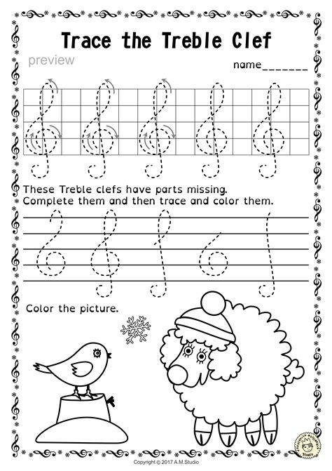 tracing  notes worksheets  winter  christmas