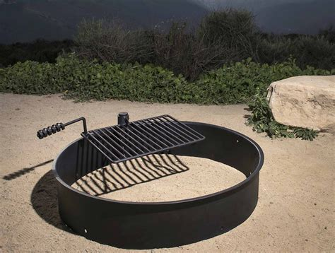 Steel Fire Ring W Cooking Grate Campfire Pit Camping Park