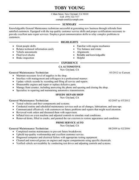 General Maintenance Technician Resume Example Automotive