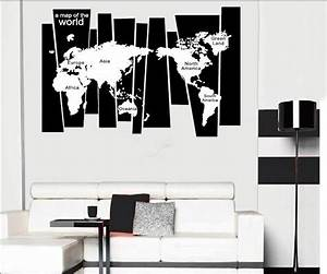 Tree Trunk Wall Decal Sticker Seven Continents World Map