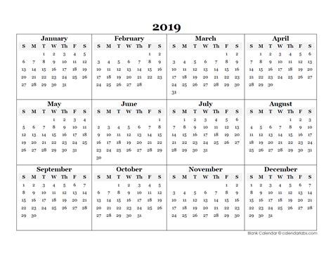 2019 Blank Yearly Calendar Template