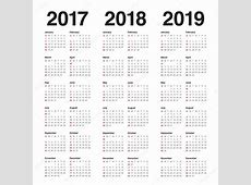 Simple Calendar template for 2017 to 2019 — Stock Vector