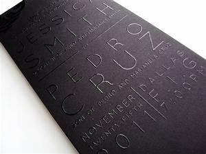 sleek black on black thermography wedding invitations With wedding invitations with raised printing