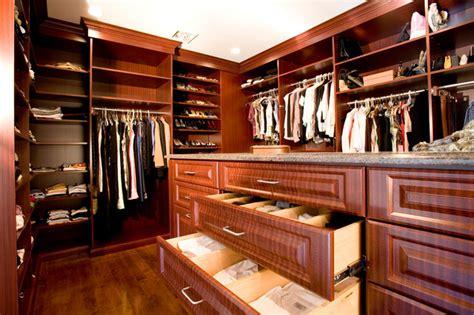 mahogany walk in closet traditional closet new york