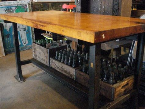 how to kitchen island antique industrial bench butcher block top with metal base 4377