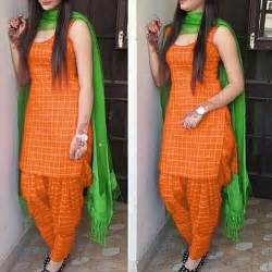 punjabi earrings designer orange green color cotton patiala suit zipker