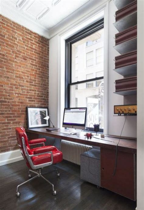 Chic Home Office Designs With Brick Walls   ComfyDwelling.com