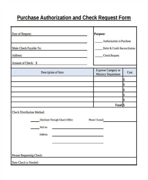 purchase authorization form template 29 sle check request form