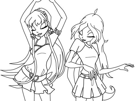 Stella And Bloom Dancing Coloring Page By Mina1015 On