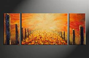 Triptych modern orange oil paintings canvas wall decor