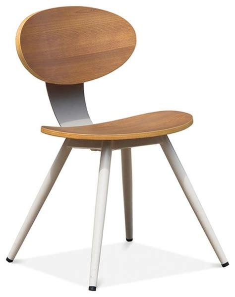 oak veneer dining chair white metal legs modern