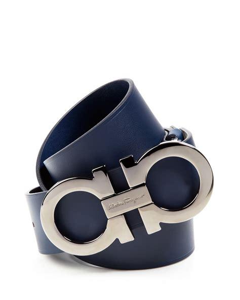 Ferragamo Leather Belt With Gancini Buckle In Blue