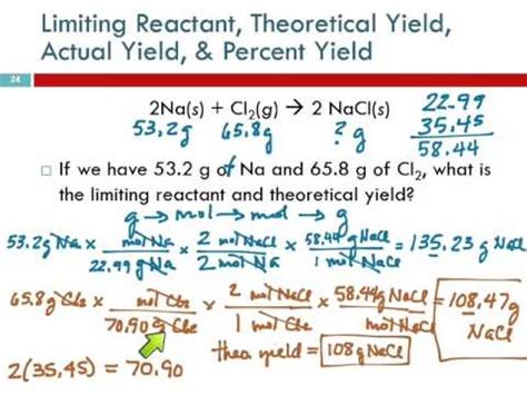 86 Limiting Reactant, Theoretical Yield, & Percent Yield From Initial Masses Of Reactants Youtube
